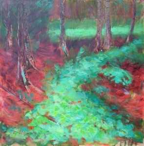 acrylic painting of red cedar trees with light effects on plants