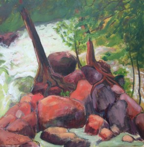 painting of red rocks with tree trunks in front of light green rapids
