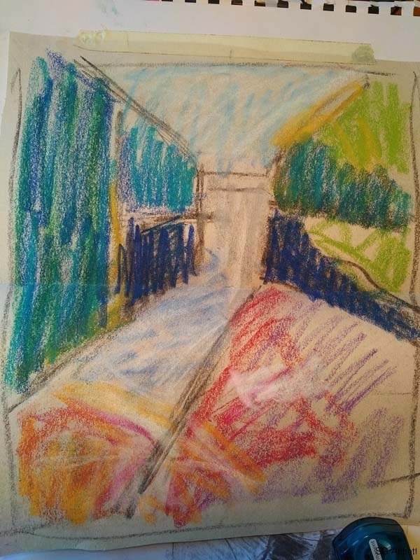 © 2017 Susan G Abbott - Below Ritchie Falls, Spring - color sketch