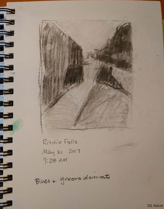 © 2017 Susan G Abbott - Below Ritchie Falls, Spring - value sketch