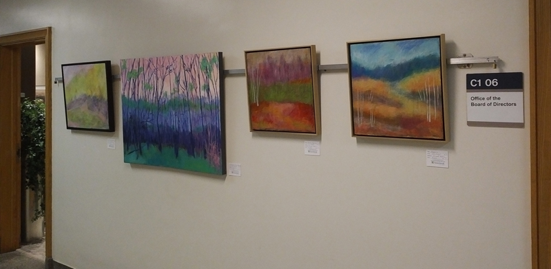 photos of artwork in a hallway at Sunnybrook Health Sciences Centre